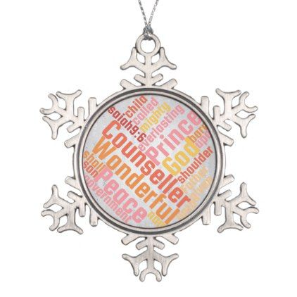 #Christian Wonderful Counselor on Silver Snowflake Pewter Christmas Ornament - #Xmas #ChristmasEve Christmas Eve #Christmas #merry #xmas #family #kids #gifts #holidays #Santa
