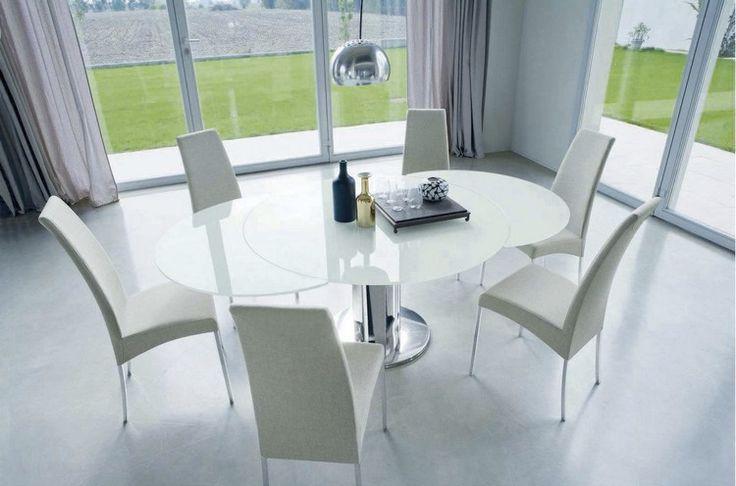 weiße Glas Tischplatte und Metall Tischsäule