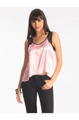Pretty Secrets Pink And Black Polyester Hem Top