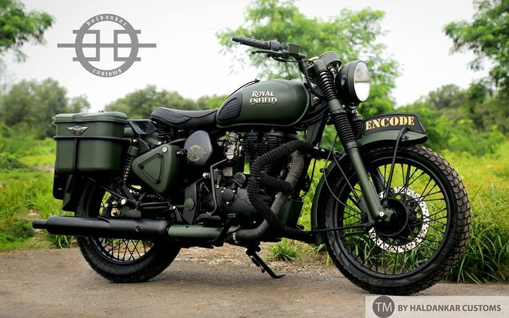 Encode Beautifully painted Military Green Royal Enfield Classic Haldarkar Customs