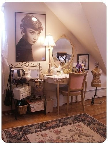 Fantastic vanity!  Lots of unique storage and the photograph of Audrey Hepburn is wonderful!