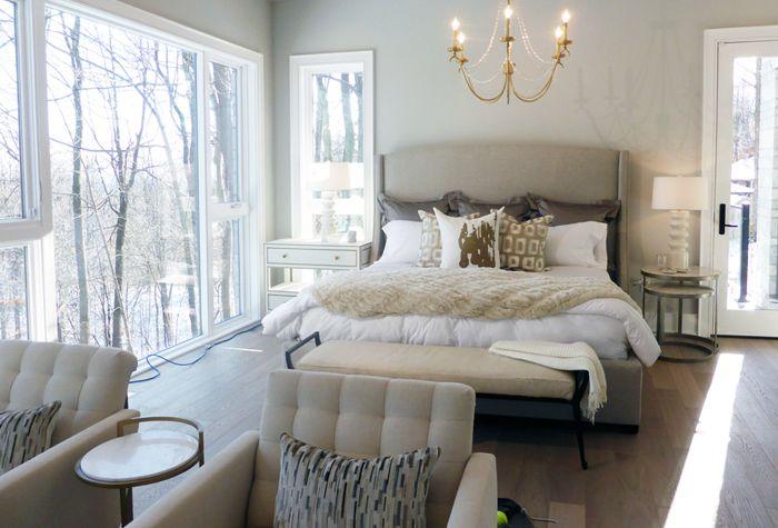 #Highview house master bedroom from #BryanInc on #HGTVCanada. Furniture by Cocoon: #Cooper bed, #Mansfield bench, #JetSet nightstand, #Marigot chandelier, #Spacey chair #bryanbaeumler #sarahbaeumler