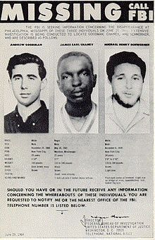 June 21 1964 - civil rights workers James Chaney, Andrew Goodman, and Michael Schwerner were murdered by white supremacists.