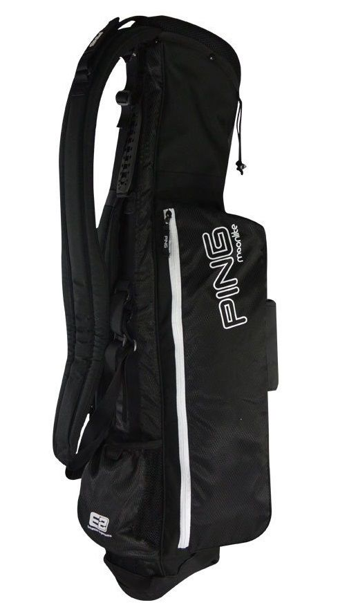 Weighing less than 2.5 pounds these lightweight mens moonlight Sunday golf carry bags by Ping are made from durable polyester / TPE materials