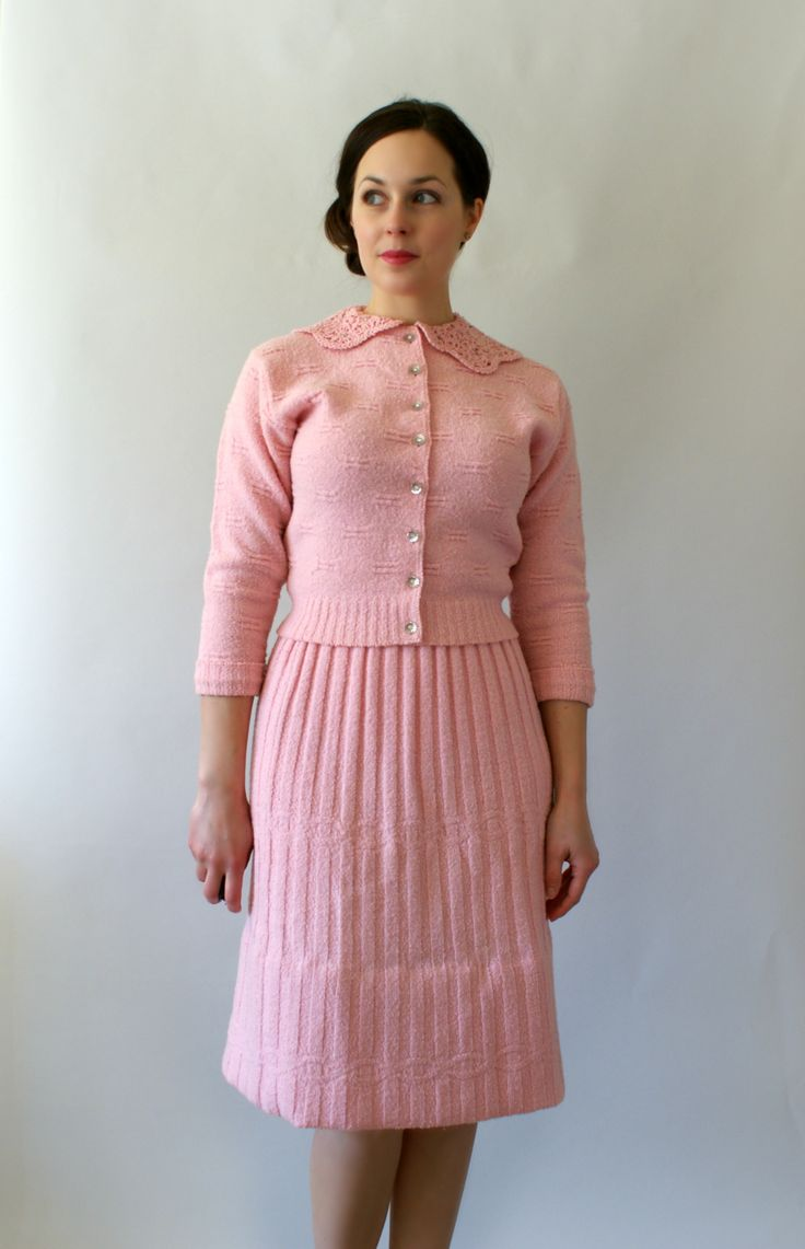1950s Vintage Skirt Set Pale Pink Knit Wool Dress Set