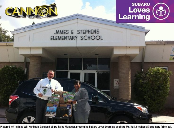 In the month of August, Subaru of America along with Cannon Subaru of Lakeland, FL donated $1,200 worth of award winning science books to Stephens Elementary school. Stephens Elementary is a title one school located in Bartow, FL. Within this last year, Stephens has tremendously raised their fifth grade science scores by the hard work of their teachers and students. The books were presented to Ms. Hall, Stephens Elementary Principal, on September 23 by Will Kuhlman, Cannon Subaru Sales Mgr.