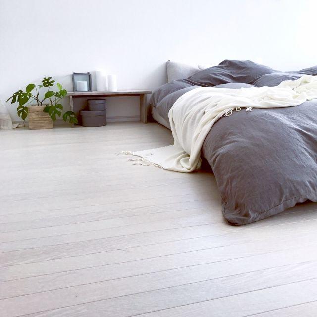 SEIMI_07さんの、ベッド周り,無印良品,IKEA,DIY,Francfranc,モノトーン,モンステラ,ホワイト,LEDキャンドル,海外インテリアに憧れる,NO GREEN NO LIFE,グリーンのある暮らし,のお部屋写真