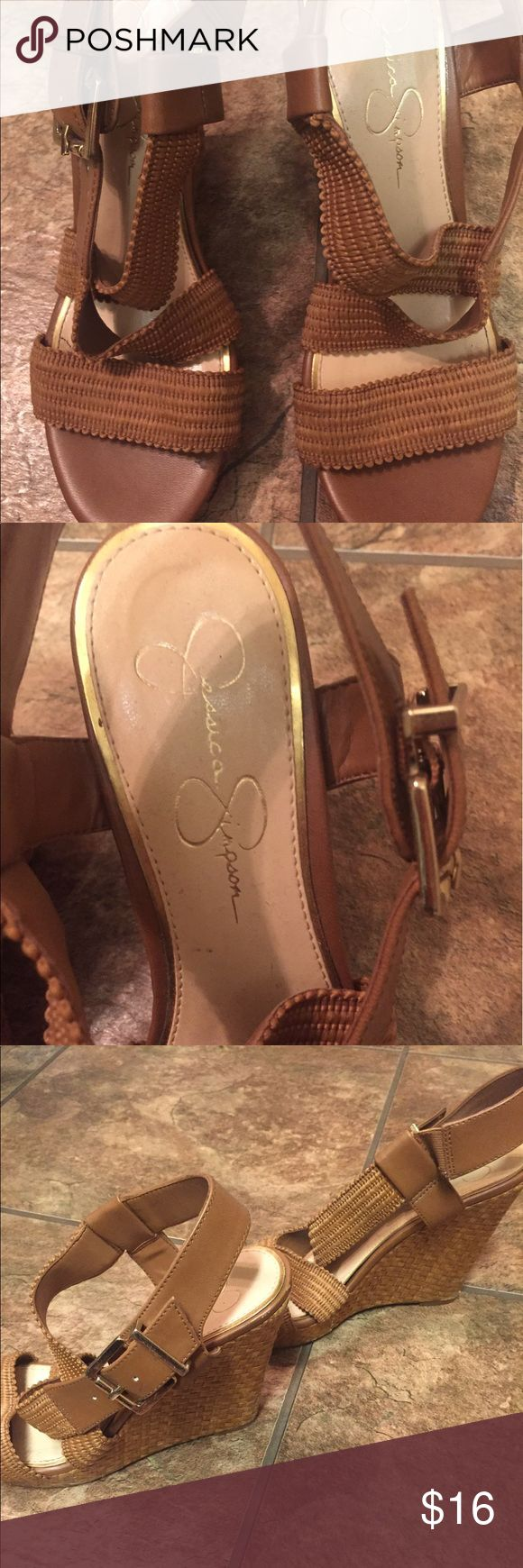 Jessica Simpson Wedges size 8 Good used condition, tan/brown in color.  Woven detail on sides is super cute!!!! 💃 Jessica Simpson Shoes Wedges