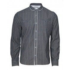 """Trinity Shirt with concealed inside """"dinner money"""" pocket, signature hawk embroidery and antique-effect buttons."""