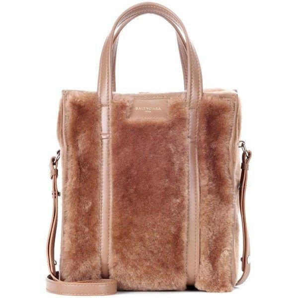 Balenciaga Bazar XS Shearling Shoulder Bag ($1,635) ❤ liked on Polyvore featuring bags, handbags, shoulder bags, brown, shearling purses, shearling handbag, balenciaga shoulder bag, shoulder bag purse and balenciaga handbags
