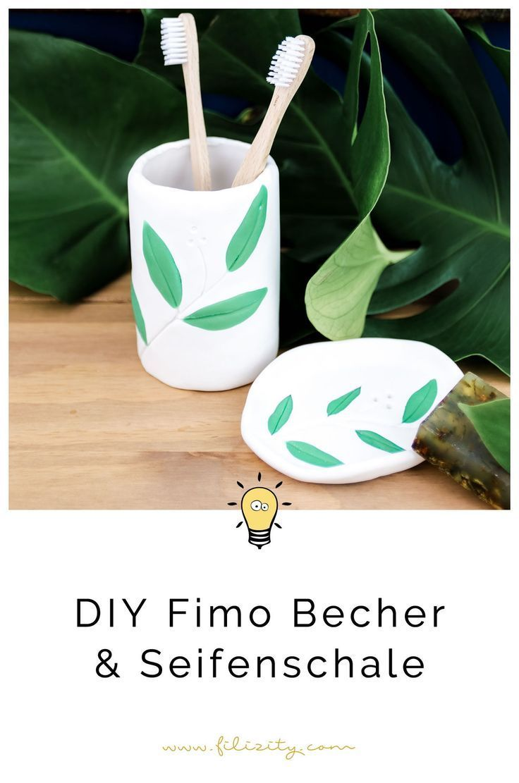 Diy Fimo Zahnburstenbecher Im Botanik Look Diy Fimo Diy Geschenkideen Und Geschenkideen