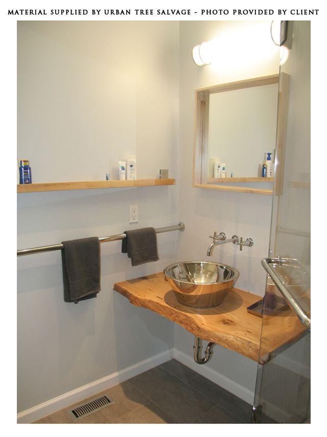 13 best salvaged and reclaimed live edge vanities images on pinterest dressing tables vanity. Black Bedroom Furniture Sets. Home Design Ideas