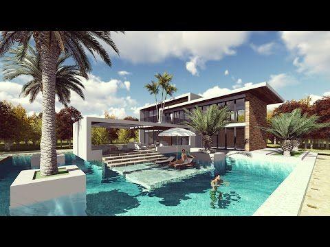 Lumion Landscape Design And Render Modern Villa Design Youtube Villa Design Modern Villa Design Bungalow House Design