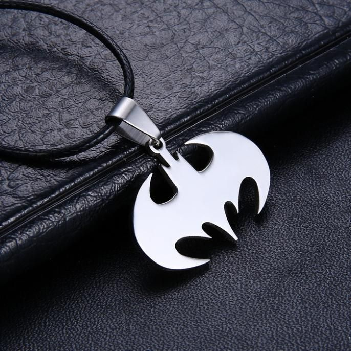 Drop Shipping Fashion Jewelry Slippy Bat Batman Sign Pendant 316L Stainless Steel Necklaces leather chain Mens Necklaces