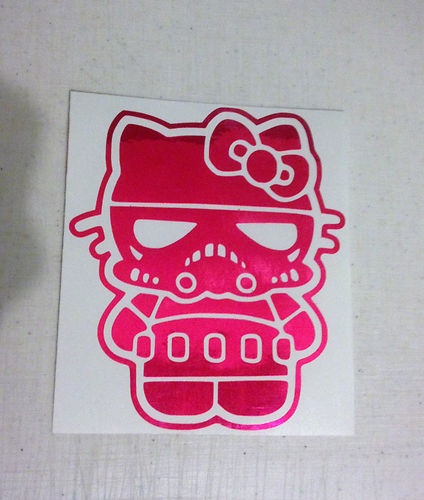 Hello kitty storm trooper vinyl decal sticker florescent pink chrome star wars