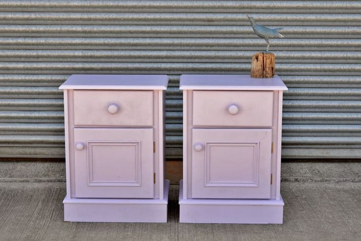 Solid Pine Bedside Table Pair Shabby Chic Painted Lavender.