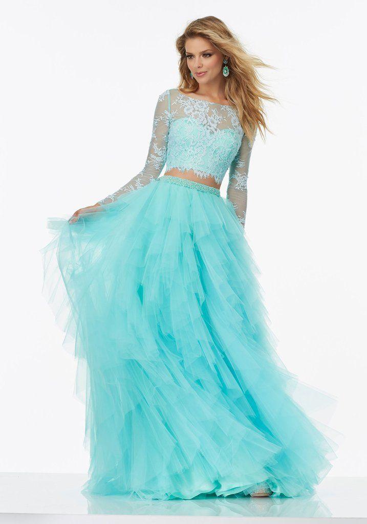 Mori Lee Prom Dress #99124 Aqua 2 piece Lace top with full skirt sz 10