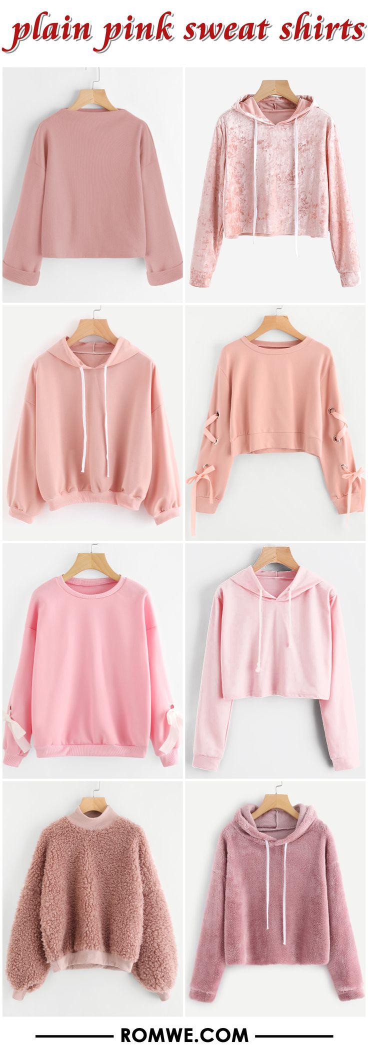 plain pink sweatshirts from romwe.com
