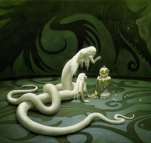 (I've never heard of this creature before) Two white Nāginī. A female nāga is a nāgī or nāginī. Nāga is the Sanskrit and Pāli word for a deity taking the form of a very great snake—specifically the King Cobra, found in Hinduism and Buddhism.