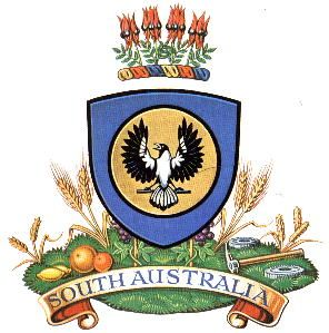 Coat of arms of SOUTH AUSTRALIA • granted by Queen Elizabeth in 1984 • Adelaide's icons • the SA coat of arms features the piping shrike, the white-backed magpie which is the State's faunal emblem. Gymnorhina tibicen • riawati