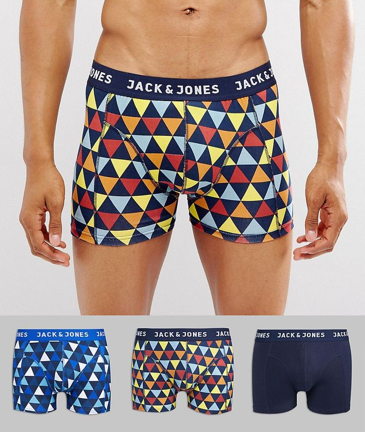 Jack & Jones Trunks 3 Pack with Graphic Print - Multi
