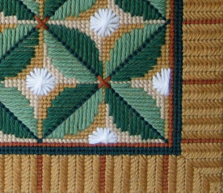 Different Types of Needlepoint Stitches | Leaf Quartet Needlepoint Pattern - Leaf Quartet Needlepoint chart and ...