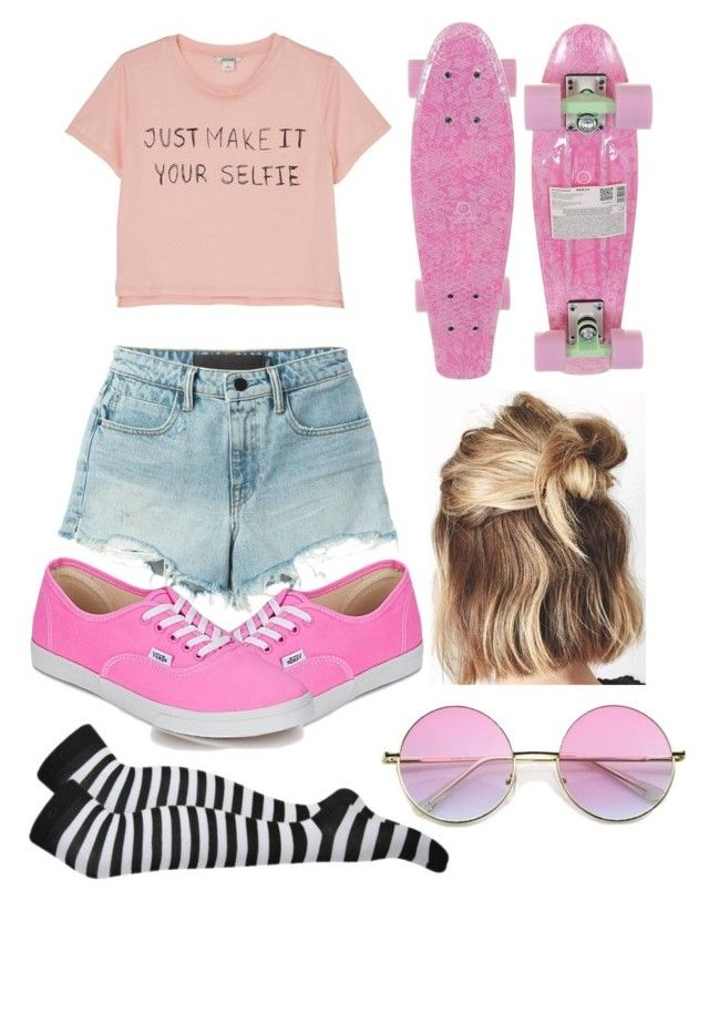 Pennyboard girl by slytheriner on Polyvore featuring Monki, T By Alexander Wang and Vans
