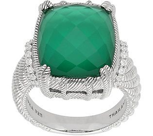 Judith Ripka Sterling Green Goddess Doublet Diamonique Ring