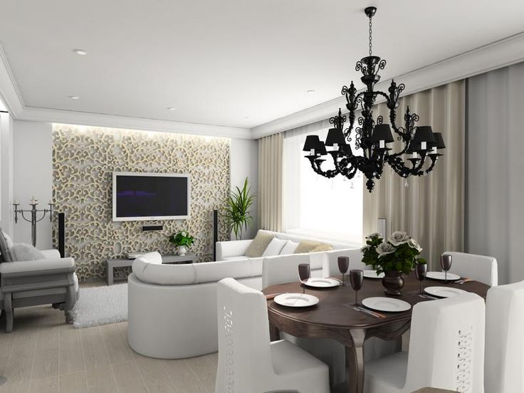 Feng Shui Dining Room Interior Design With Elegant Lighting Chandelier Above Dark Wooden Table And