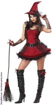 Sexy Gothic Mischievous Witch Adult Costume Dress $37.12
