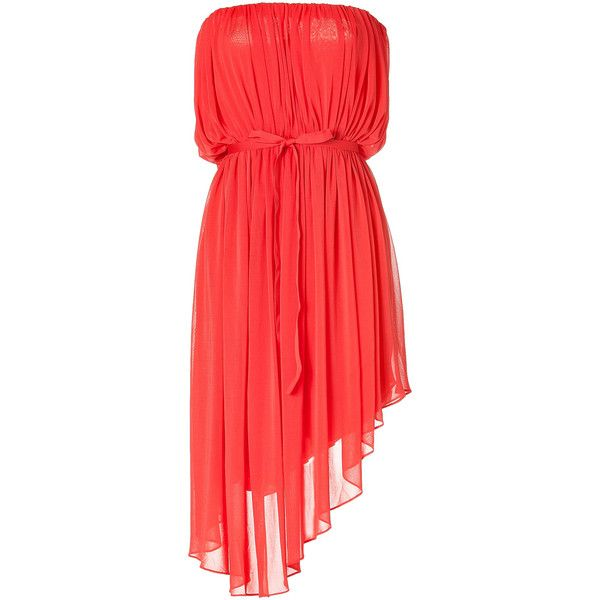 HALSTON Bright Coral Strapless Belted Dress