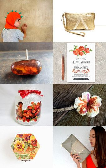 Beauties of orange and golden! by Mary on Etsy--Pinned with TreasuryPin.com