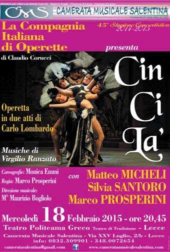 La Compagnia Italiana di #Operette presenta ''Cin Ci Là'' mercoledì 18 Febbraio 2015 c/o #Teatro Politeama Greco di #Lecce (Le)