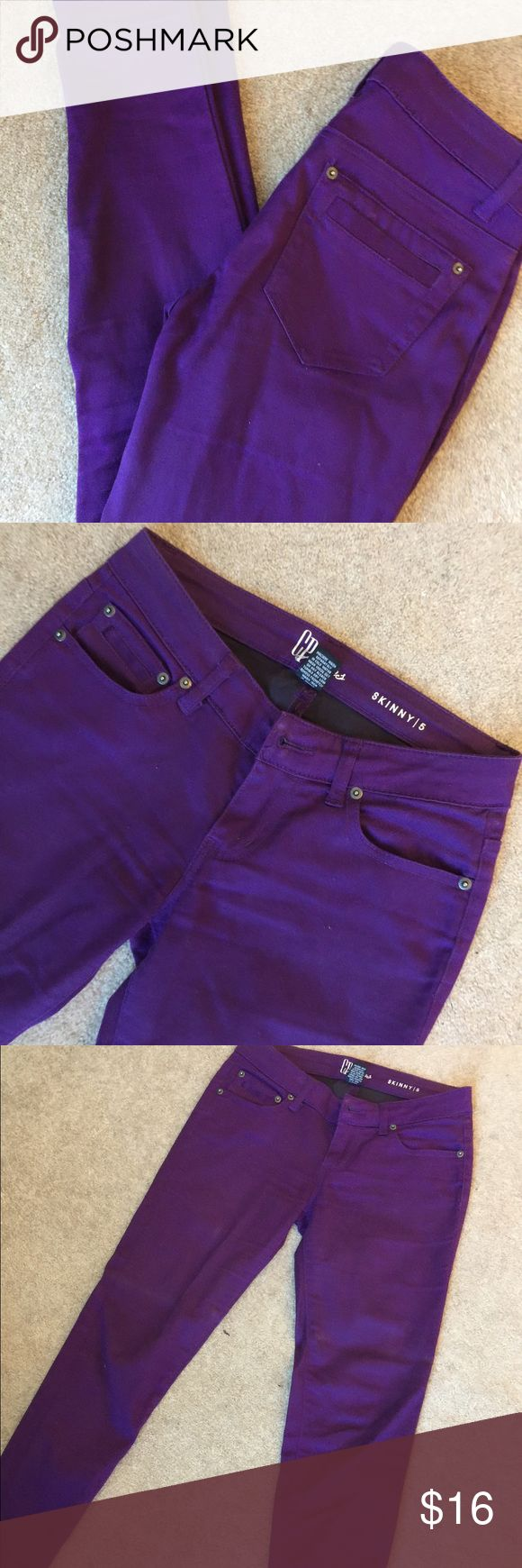 CP Purple Skinny Jeans 68% cotton 30% polyester 2% spandex. 29 inch inseam. CP Jeans Jeans Skinny