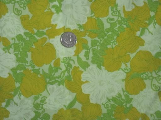 60s 70s retro floral print cotton blend fabric, citrus shades on lime green