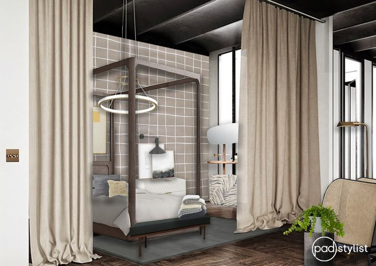 A bedroom which has the wow factor, yet oozes cosyness and comfort thanks to balanced colour scheme and unique use of materials and textures.