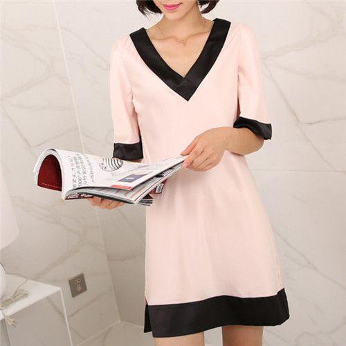 Купить товар2016 лето сна гостиная розовый ночные сорочки женщины шелк…
