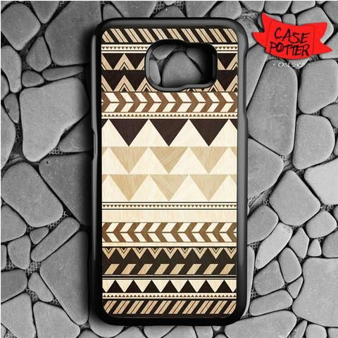 Aztec Pattern Art Wood Samsung Galaxy S7 Black Case