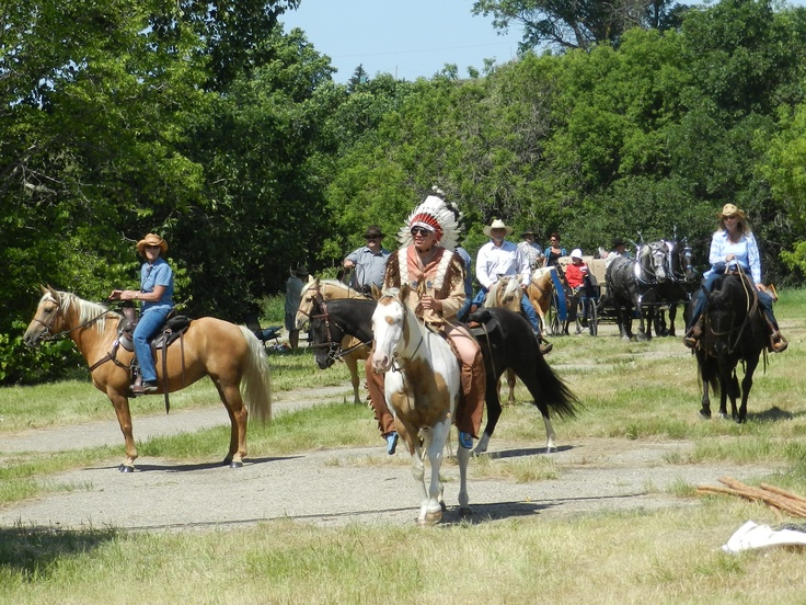Cast and crew arrive on the outdoor set of the 2012 Burning Sun Production of The Medicine Line performed on location in the Wakamow Valley, Moose Jaw, Saskatchewan. http://www.inkwellinspirations.com/2012/08/the-medicine-line-outdoor-show.html