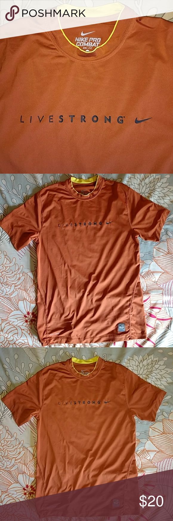 Nike Livestrong Pro Combat orange shirt sz MD Nike Livestrong Pro Combat orange shirt sz MD   This shirt has a fitted cut. It is pre-owned and in good condition. Nike Shirts Tees - Short Sleeve