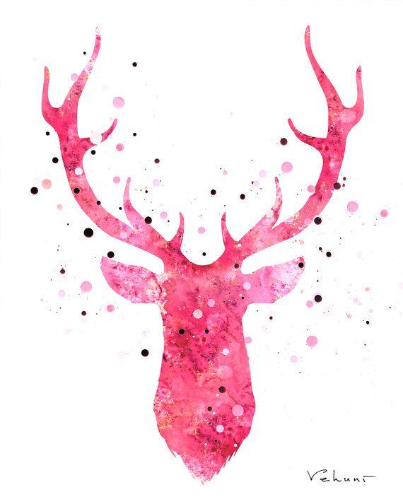 Deer Head 2  Pink  Archival Print from Original by FluidDiamondArt, $12.00