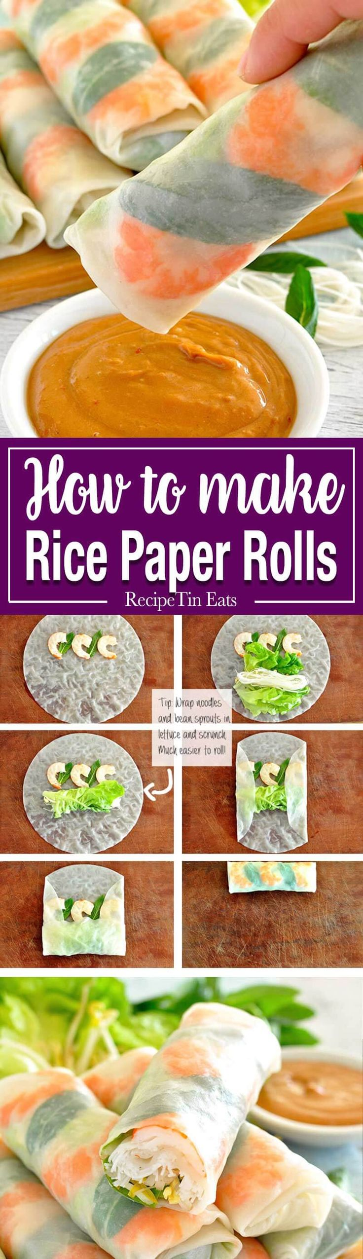 rice paper recipes Place vermicelli in a large bowl, pour over enough boiling water to cover completely and stand until vermicelli are tender strain, drain well, then cut into rough 10cm lengths with scissors and place in a bowl.