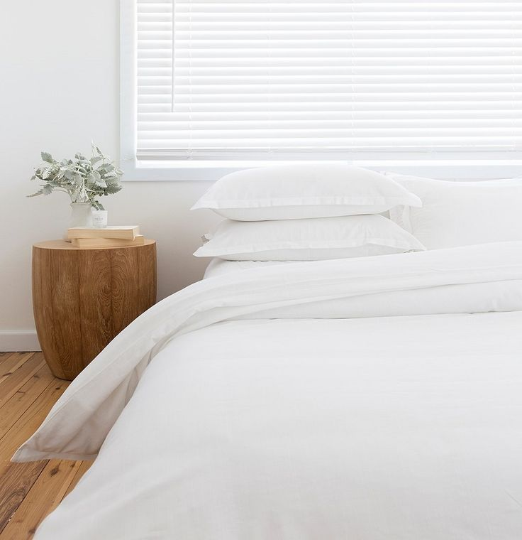 All white bamboo bedlinen. Comes in a set; quilt cover and pillowcase pair.