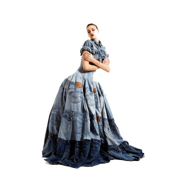 Wouldn't this #recycled #jeans dress be a great alternative to the traditional #wedding gown? Think barn wedding!