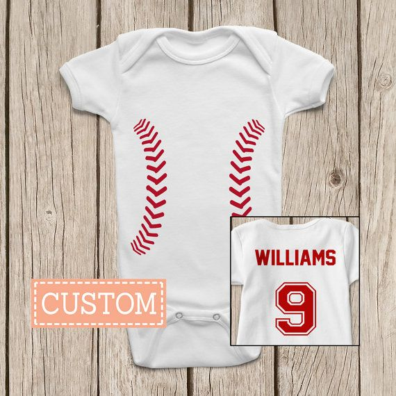 Baseball ONESIES ® Brand Baby Bodysuits by MamiOrigami on Etsy.  I love the idea of this Onesie for a New Baby Gift, perfect for any Baseball fan