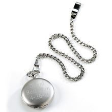 Engraved personalized pocket watch- silver metal