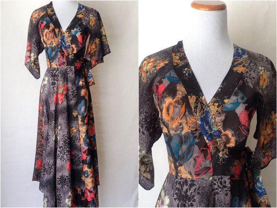 Vintage 70s Wrap Dress - Floral Wrap Dress - Dream Dress - Vintage ...