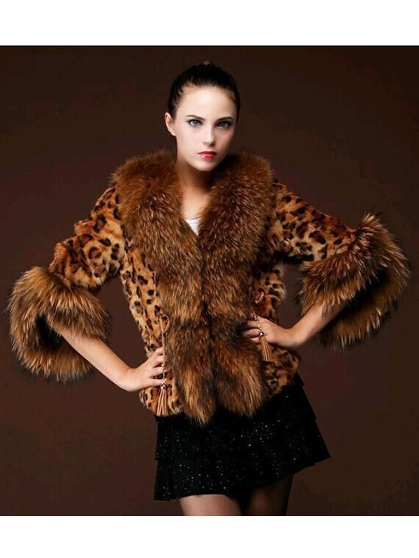 New Brown Leopard Print Fur Collar Half Sleeve Fashion Outerwear in ... ed5d27aca