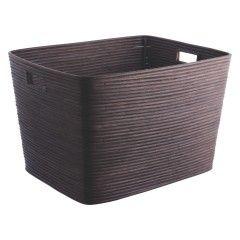CANELLA Dark stained rattan log basket