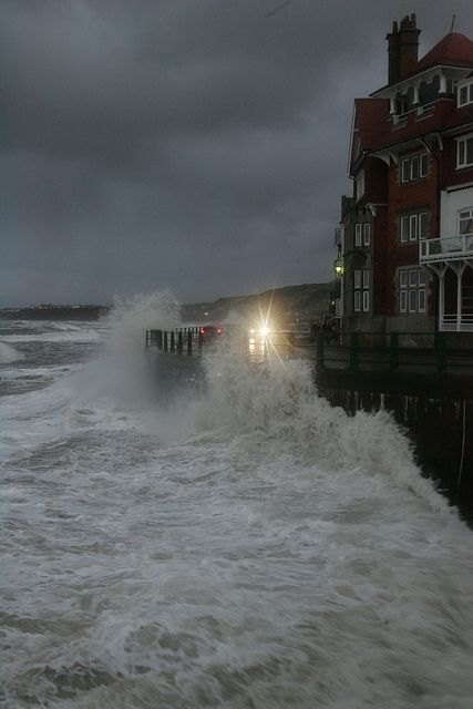 High seas at Sandsend near Whitby, North Yorkshire, England